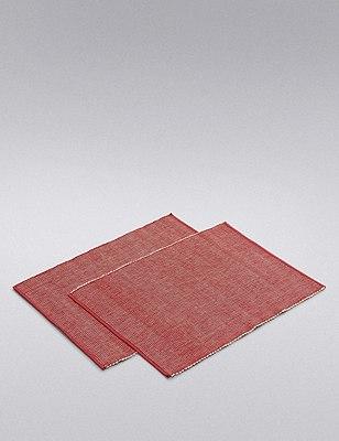 Rib Woven Placmat 2Pk, RED, catlanding