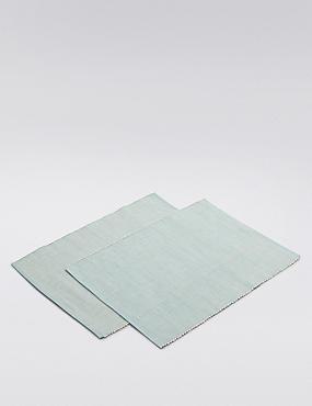 2 Pack Rib Woven Placemat , DUCK EGG, catlanding