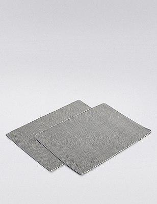 Rib Woven Placmat 2Pk, CHARCOAL, catlanding