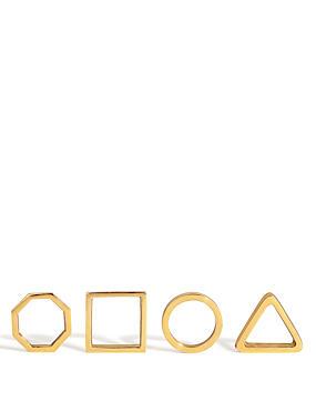 4 Geometric Metal Napkin Rings, , catlanding