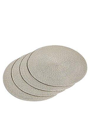 Round Woven Mats, METALLIC, catlanding
