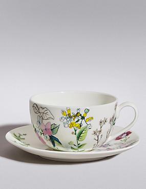 Ensemble tasse et soucoupe à motif fleuri, , catlanding