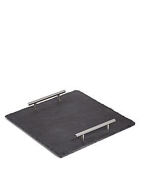Slate Square Platter with Handles, , catlanding