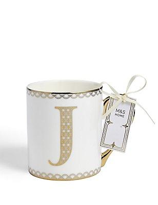 Mug avec lettre «J» dorée, , catlanding