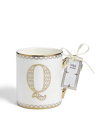 Mug avec lettre «Q» dorée, , catlanding