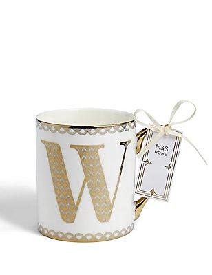 Mug avec lettre «W» dorée, , catlanding