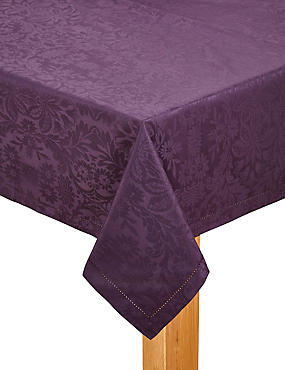 Plum Damask Tablecloth, , catlanding