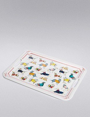 Illustrated Multi Dog Print Tray, , catlanding