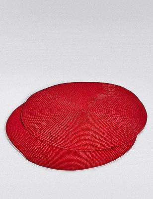 2 Woven Cord Placemats, RED, catlanding