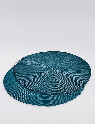 2 Woven Cord Placemats, TEAL, catlanding