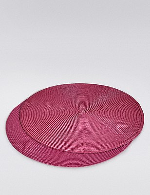 2 Woven Cord Placemats, BRIGHT MAGENTA, catlanding