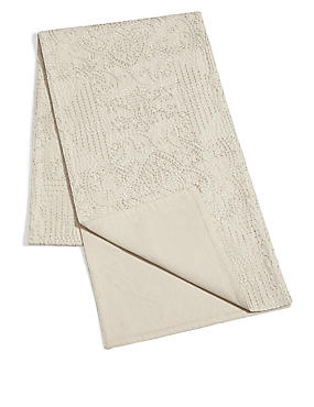 Rice Stitch Embroidered Runner, , catlanding