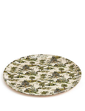 Forest Toile Round Tray, , catlanding