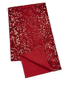 Sequin Embroidered Runner, RED, catlanding