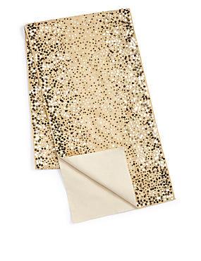 Sequin Embroidered Runner, PALE GOLD, catlanding