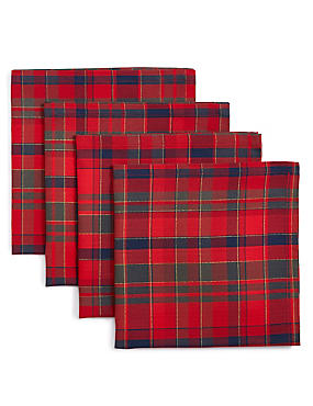 4 Pack Cotton Rich Tartan Napkin Set, , catlanding