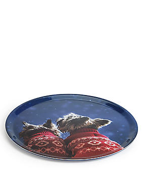 Westie Dog & Friend Round Tray, , catlanding