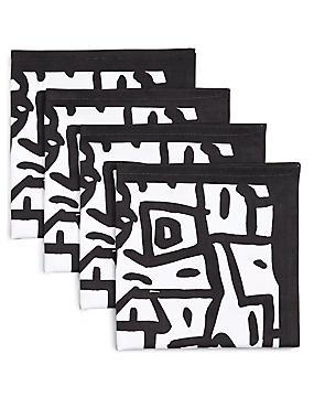 4 Pack Sue Graffiti Print Napkins, , catlanding