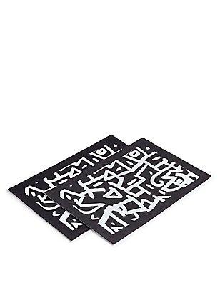 2 Pack Sue Timney Graffiti Print Placemat, , catlanding