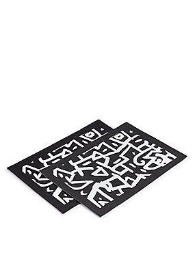 2 Pack Sue Graffiti Print Placemat , , catlanding