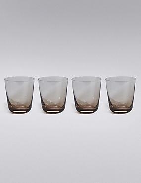 4 Tribeca Stacking Tumbler Glasses, GREY MIX, catlanding