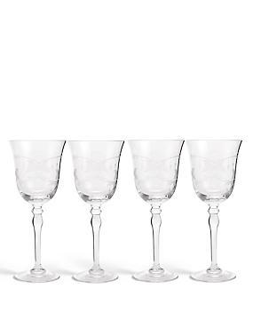 Lot de 4verres à vin blanc avec motif végétal, , catlanding