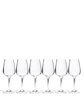 6 Accent White Wine Glasses, , catlanding