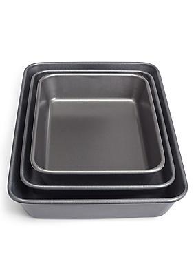 Essentials Set of 3 Roasting Trays, , catlanding