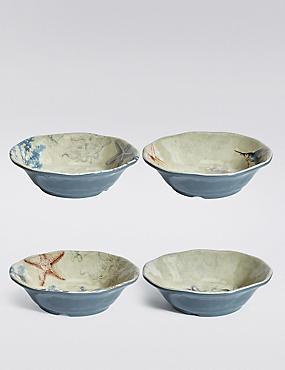 Set Of 4 Nautical Melamine Cereal Bowls, , catlanding