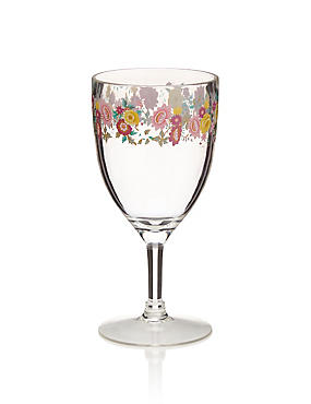 Spring Bloom Floral Plastic Wine Glass