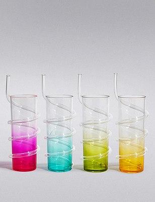 Set of 4 Ombre Straw Plastic Picnic Hi Balls, , catlanding