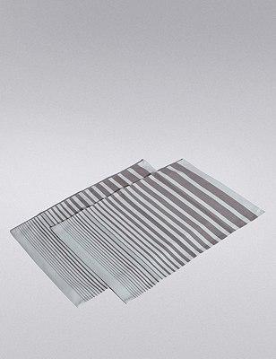 2 Pack Gradient Striped Placemats, , catlanding