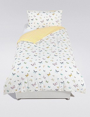 Grid Butterfly Print Bedding Set, , catlanding
