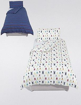 2 Pack Bug Print & Striped Bedding Set, , catlanding