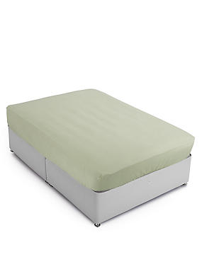 Percale Deeper Fitted Sheet, MOSS GREEN, catlanding