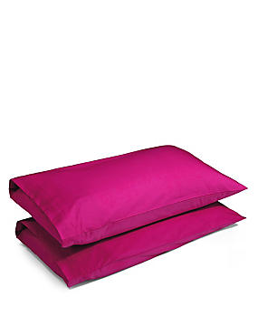 2 Pack Cotton Rich Percale Pillowcase, PINK, catlanding