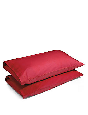2 Pack Cotton Rich Percale Pillowcase, REDCURRANT, catlanding