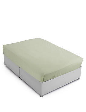 Cotton Rich Percale Flat Sheet , MOSS GREEN, catlanding