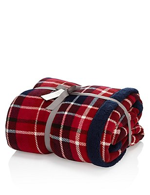 Tartan Checked Fleece Throw, , catlanding