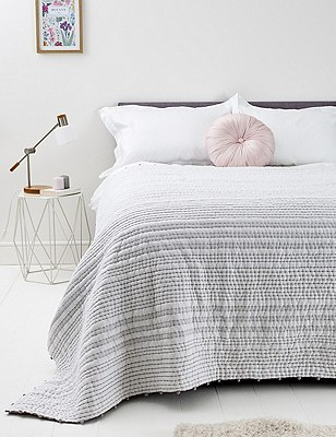 Cotton Pom-Pom Striped Bedspread, GREY MIX, catlanding