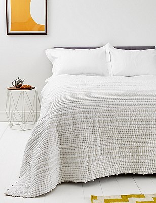 Cotton Pom-Pom Striped Bedspread, NATURAL MIX, catlanding