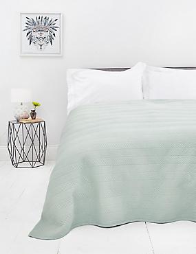 Quilted Bedspread, DUCK EGG, catlanding