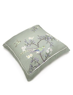 2 Ophelia Embroidered Square Pillowcases , SAGE GREEN, catlanding