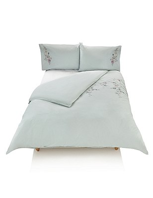 Cora Embroidered Bedding Set, DUCK EGG, catlanding