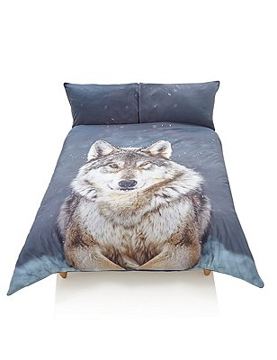 Snowy Wolf Bedding Set, GREY MIX, catlanding