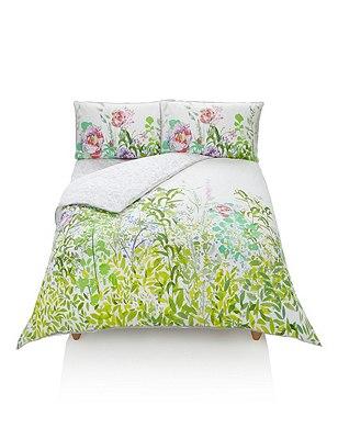 Rene Floral Print Bedding Set, GREEN MIX, catlanding