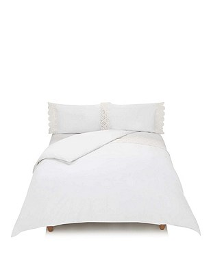 Bethany Floral Lace Bedding Set, WHITE, catlanding