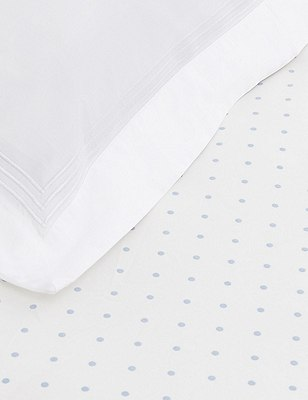 Spotted Fitted Sheet, PALE BLUE MIX, catlanding