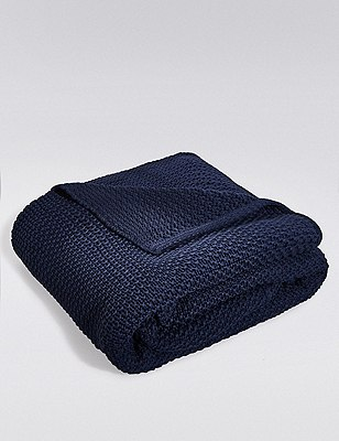 Knitted Throw, NAVY, catlanding
