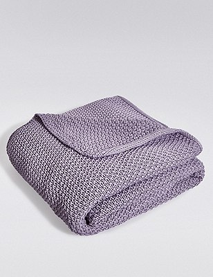Knitted Throw, LILAC, catlanding